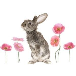 "Mainstays Kids 12"" Bunny & Poppies Wall Decal"